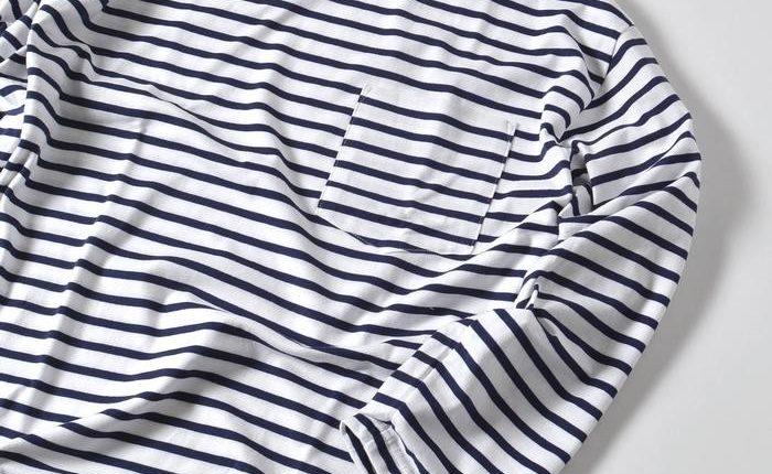 春夏コーデのレギュラー候補。オーシバルボーダーバスクシャツ